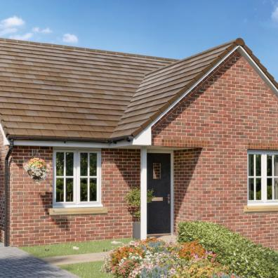 A CGI of the Haywood-bungalow from Elan Homes at Three Js in Abberley