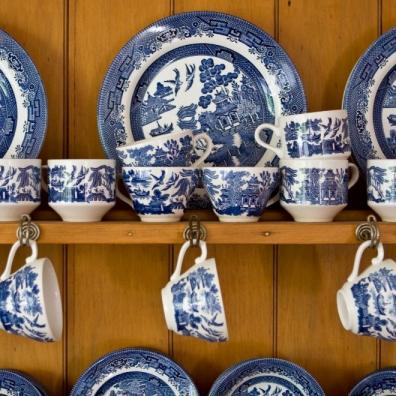 Blue China On Sideboard