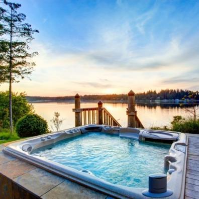 Hot tub in summer